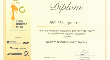FECUPRAL prevzal ocenenia za firemnú stratégiu podpory cirkulárnej ekonomiky na Slovensku